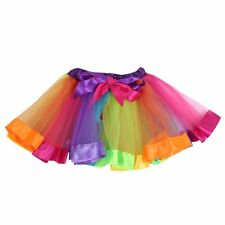 Kids Girls Rainbow Ballet Dancewear Dress High Waist Tutu Party Pettiskirt Skirt