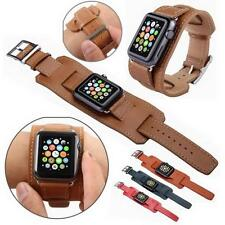 Apple Watch 38mm/42mm Genuine Leather Watch Band Strap Replacement Watchband ^