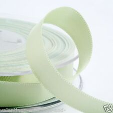 Full Roll Double Sided Satin Ribbon - Light Green - Craft - Sewing 25m 50m