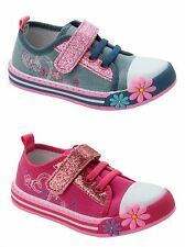 GIRLS DENIM PINK FLORAL GLITTER CANVAS PUMPS CASUAL TRAINERS SHOES UK SIZE 4-12