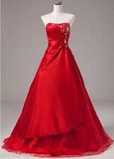 New Red Evening Dresses Prom Formal Party Gown Stock Size 6 8 10 12 14 16