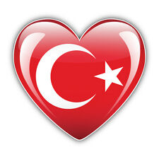 Love Turkey Glossy Heart World Flag Car Bumper Sticker Decal 5'' x 5''