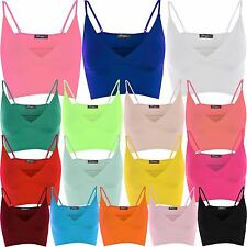 New Womens Cami Strappy Mini Bralet Cropped Ladies Bra Vest Tops 8-22