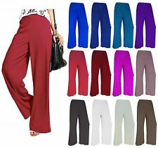 LADIES PLUS SIZE PLAIN WIDE LEG PALAZZO BAGGY PANTS WOMENS FLARED TROUSERS