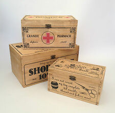 Vintage Wooden Storage Box French First Aid / Shoe Shine / Sewing Shabby Rustic