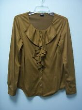 RAFAELLA Womens Brown Button Front Long Sleeves Soft  Sueded Shirt  Large L  NEW