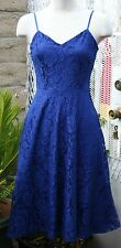 Lace dress, beautiful blue color,spaghetti strap,below knee length, size S,M