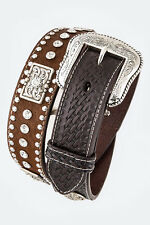Men's Basket Weave Tooled Leather Belt Heavy Duty Western Rhinestones Concho Gun