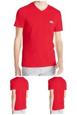 LACOSTE MEN'S SHORT SLEEVE TEE REGULAR FIT V-NECK CAVIAR CROC T-SHIRT IN RED