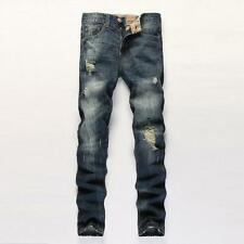 New Mens Slim Skinny Fit Biker Pants Destroyed Ripped Straight Causal Jeans Q141