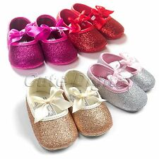 Baby Toddler Girl Glitter Bowknot Antislip Soft Sole Ribbon Crib Shoes Prewalker