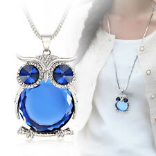Fashion Women Rhinestone Crystal Owl Pendant Long Sweater Chain Necklace Jewelry