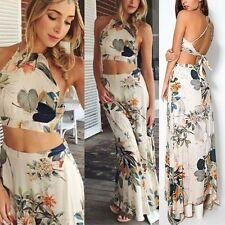 Sexy Women Floral Bodycon Halter Backless Bandage Crop Tops+ Long Maxi Skirt Set