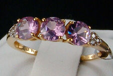 1.14cts Genuine Mahenge Spinel Trilogy w/White Zircon 10k Solid Gold Ring