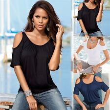 Fashion Casual Loose Round Neck Shoulder Hole Point Blouse T-shirt Tops HG