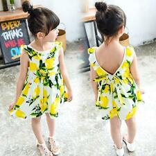 Princess Baby Kids Girls Lemon Sleeveless White Yellow Lemon Summer Party Dress