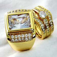 HIS HERS MEN'S WOMEN'S Gold filled WEDDING ENGAGEMENT RING BAND SET R199/179