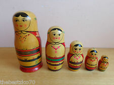 VTG SET OF 5 OLD RARE RUSSIAN USSR WOODEN HAND PAINTED MATRYOSHKA NESTING DOLL