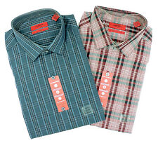 Alfani Fitted Oversized Teal OR Red Plaid Dress Shirt Size 15 1/2 32-33