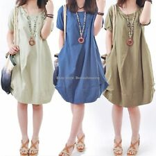 Korean Womens Casual Loose Summer Sundress A-line Ruffle Hem Cotton Shirt Dress