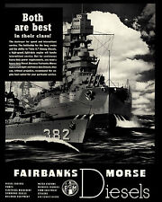 "ORIGINAL 1939  ""FAIRBANKS MORSE"" NAVY BATTLESHIP DIESEL ENGINES ART PRINT AD"