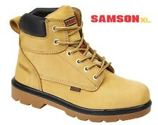 Mens Safety Work Boots Tan Nubuck Leather Samson XL 7107 Steel Toe & Midsole