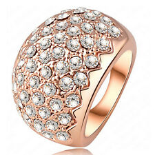18k Rose gold GP Fashionable Swarovski Crystal Marry Ring LR0068-4