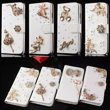 Luxury Bling Jewelled Crystal Leather Flip Wallet Cards Case Cover  For Alcatel