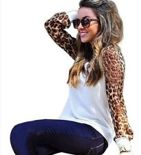 Womens Ladies Chiffon Leopard Print Long Sleeve T-shirt Tee Casual Tops Blouse