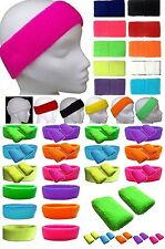 Neon Wristbands Sweatbands Headband &/or Pk 2 Wrist Bands  Neon  Fancy Dress