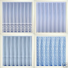 White Voile Net Curtains - Plain, Bird, Striped, Lace Designs -Sold by The Metre
