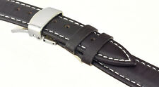 BRAND NEW Dark Brown Genuine Leather Watch Strap Double Deployant Clasp 18/22mm