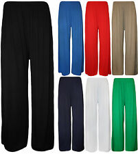 Womens Ladies Plus Size Plain Palazzo Wide Leg Flared Trousers Pants 8 TO 26