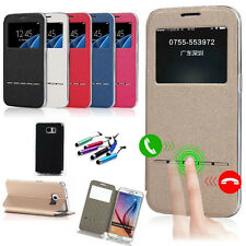 Luxury Free+Gift Flip Window View Leather Smart Case Cover For iPhone Samsung LG