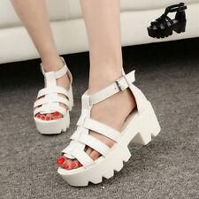 New Women Creeper Ankle Strap Platform Wedge Heels Sandals Shoes Roman*