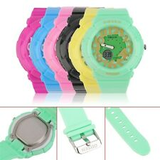 Men's Women Kids LED Light Rubber Band Outdoor Sport Wrist Watch Waterproof BN