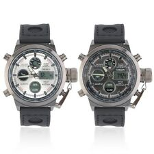 Men's Army Style High Quality Rubber Band Date Day Sports Wrist Watch BN