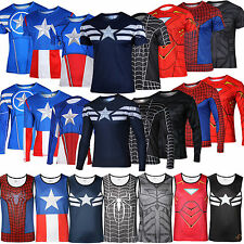 Mens Marvel Costume Avengers T-Shirt Running Compression Punisher X-man Cosplay