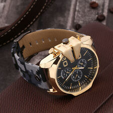 Men's Large Display Round Dial Faux Leather Band Quartz Wrist Watch Gifts BG