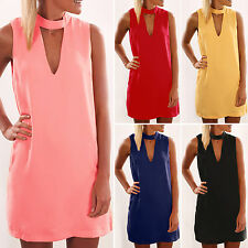 Womens Sexy Boho Short Mini Dresses Summer Beach Evening Party Chiffon Sun Dress