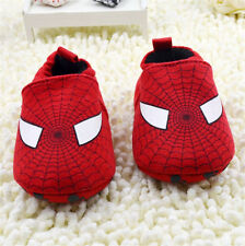 Infant Baby Boy Girl Red spiderman Crib Shoes Slip-On Size 0-6 6-12 12-18 Months
