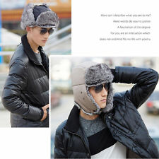 Mens Winter Warm Aviator Bomber Faux Fur Ski Trooper Trapper Ear Flap Hat Cap