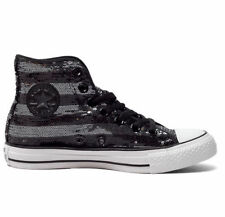 New Converse Hi Top Chuck Taylor All Star Black Sequin Trainers Shoes 549637C