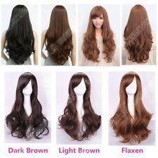 Womens Long Brown Curly Wavy Full Wigs Party Hair Cosplay Lolita Fashion Wig MU1