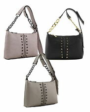 Faux Leather Ladies Designer Fashion Shoulder Bag, Handbag with Metal Studs U10