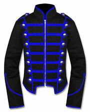 Men's Handmade Blue Black Military Marching Band Drummer Jacket New Style