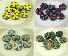 6pcs Rustic Picasso Czech Glass Flat Carved Table Cut Cross Flower Beads Coin 14