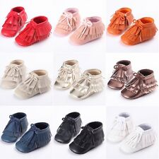 0-18M Kids Boys Girls Soft Sole Leather Moccasin Crib Shoes Non-Slip Prewalkers