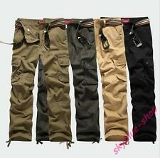 Mens Stylish Military Outdoor Overalls Cargo Loose Pants Baggy Solid Trousers Sz
