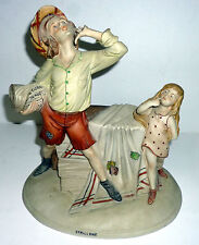 Capodimonte Italian Porcelain Figurine Paperboy Shouting Signed